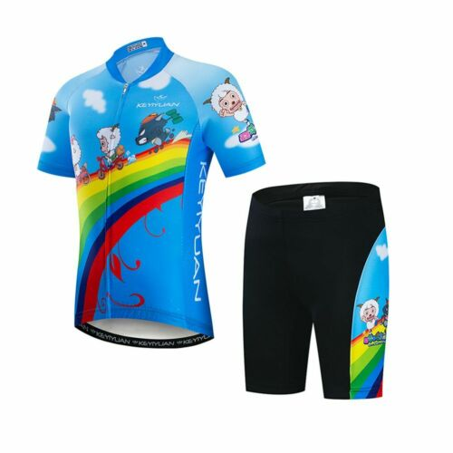 Kids Cycling Jersey /& Padded Shorts Kit Boys Girls Children Cycling Clothes Set