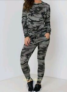 LadiesCo-ord-Stretch-Army-Camouflage-Print-Jogging-SuitSet-Womens-Tracksuit-8-26