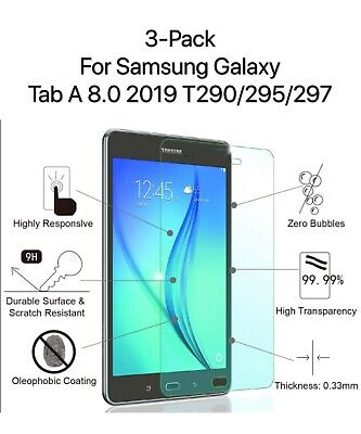 """3-Pack Samsung Galaxy Tab A 8.0/"""" SM-T387 2018 Tempered Glass Screen Protector"""