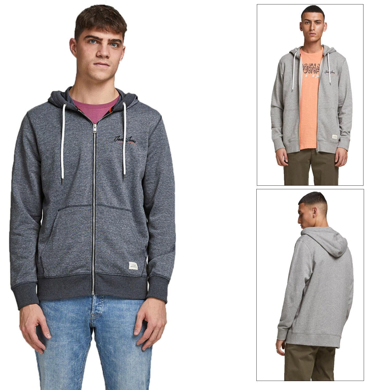 Jack & Jones Mens Tons Organic Cotton Drawstring Sweatshirt Zip Up Hoodie Jumper