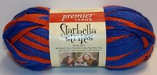 Starbella Stripes Ruffle Net Style  Premier Yarn Knitting Scarf POM1 Red & Blue