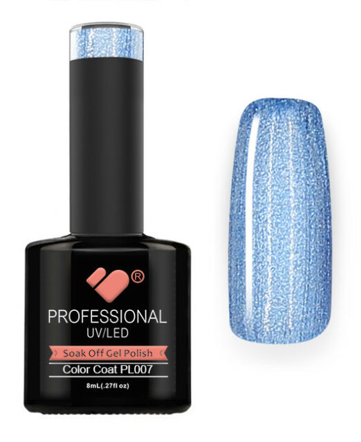 Pl007 VB Line Platinum Light Blue Metallic - GEL Nail Polish Super ...