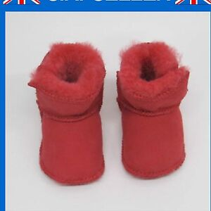 Baby Girls  Boys Red Snugg Sheepskin Boots Slippers Lia Couture size 4 5 6