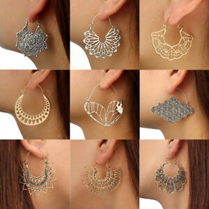 e98bf89c52 Details about Vintage Tibetan Boho Women Hollow Earrings Ethnic Punk Dangle  Stud Hoop Jewelry