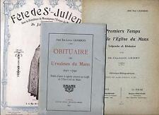 3 plaquettes Saint-Julien 1913 Eglise du Mans Obituaire des Ursulines 1621-1790