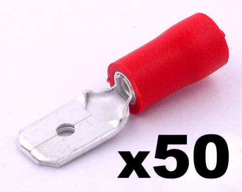 50x Rojo Macho 6.3 Mm Conector Plano terminales de crimpeado aislados Cableado Eléctrico
