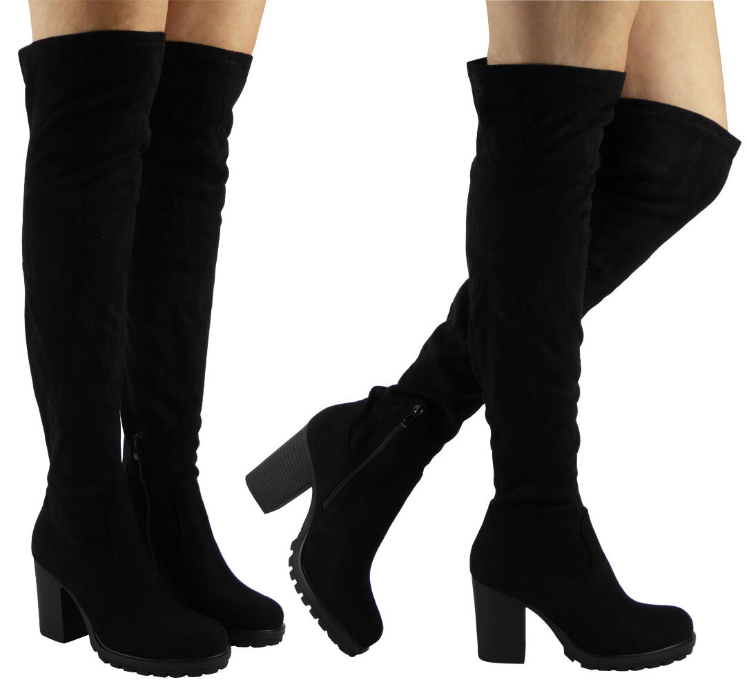 Womens Ladies Over The Knee Thigh High Long Stretch Block Mid Heel Boots Size