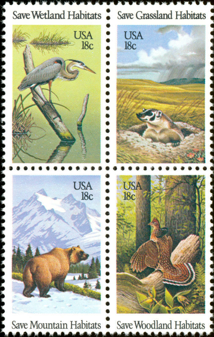 1981 18c Wildlife Mountain Habitats, Block of 4 Scott 1