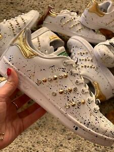 Dettagli su scarpe adidas stan smith con tessuto oro piu' spruzzatura e borchie e swaroski