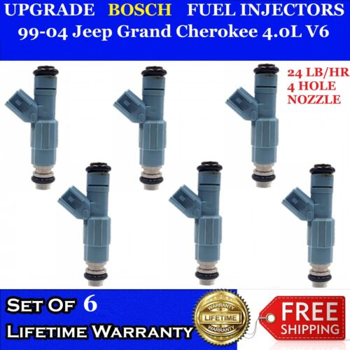 6x 24LB OEM Upgrade Bosch EV6  Fuel Injectors 99-04 Jeep Grand Cherokee 4.0L V6