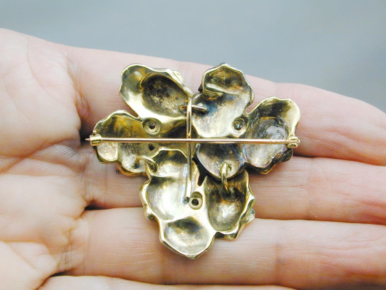 RARE 14k Gold & Diamond Enamel TRIPLE Pansy Pin P… - image 10