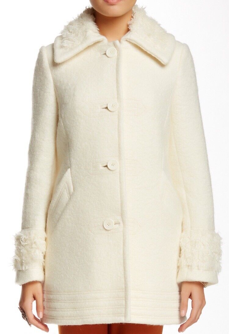 Free People Wooley Faux Fur Trimmed Pea Coat Ivory Size Large   268NWT OB426495