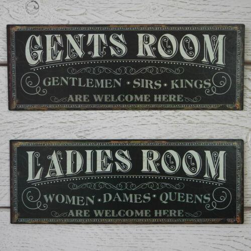 Vintage Black Metal Ladies Gents Room Plaque Cafe Pub WC Toilet Loo Tin Sign
