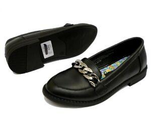 Teens Girls Black School Shoe Silver