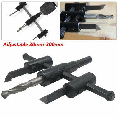 30-300mm Circle Cutter Hole Saw Drill Bit DIY Punch Kit Woodworking Adjustable