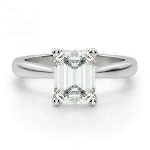 2.00 Ct Emerald Moissanite Engagement Ring 18K Solid White Gold ring Size 6 7