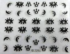 Accessoire ongles : nail art -Stickers autocollants,couronne et lunes noires