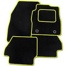 Daewoo Kalos 2003-2009 TAILORED CAR FLOOR MATS- BLACK WITH YELLOW TRIM