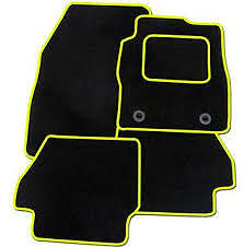 BLACK WITH YELLOW TRIM Mazda2 2007-2015 Fully  TAILORED CAR FLOOR MATS