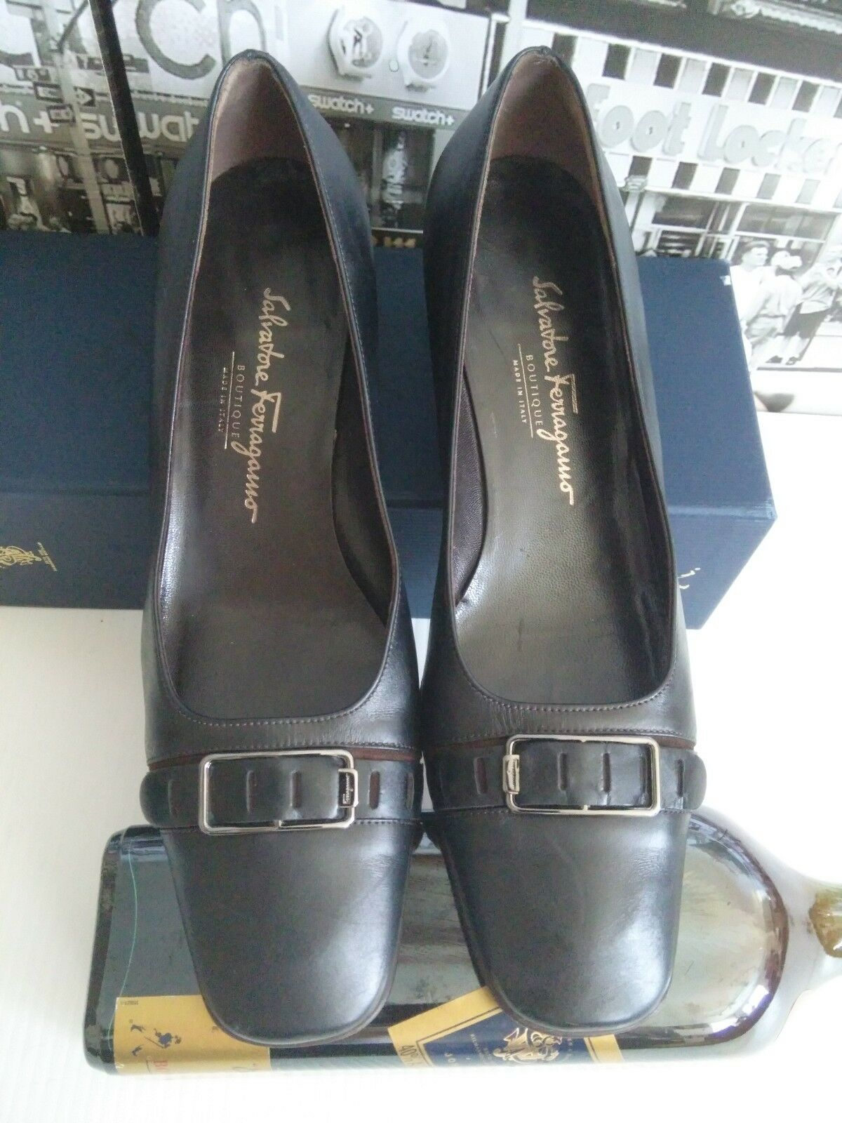 Gorgeous Salvatore Ferragamo Black  Leather Platform Block Heel Pump 8.5 US 8.5 Pump 725770