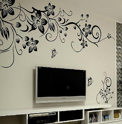 Flower Vine Removable Art Vinyl Quote Wall Sticker Decal Mural Home Room Decor