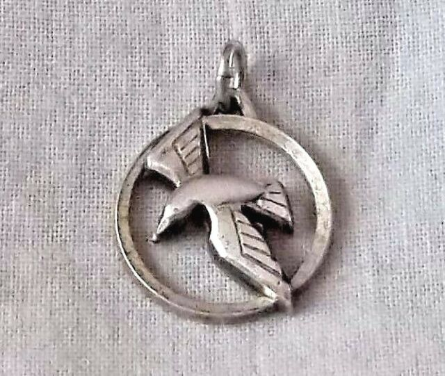 Vintage Sterling Silver DESCENDING DOVE OF THE HOLY SPIRIT Cutout Charm by CREED