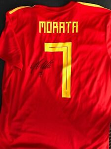 newest 1fade 26117 Details about Spain Alvaro Morata Autographed Signed Adidas Jersey COA BNWT