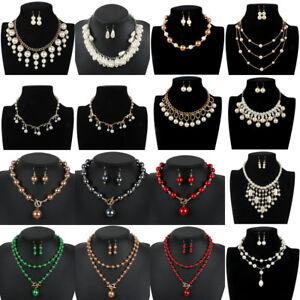 Fashion-Womens-Choker-Chunky-Bib-Pearl-Statement-Pendant-Necklace-Chain-Jewelry