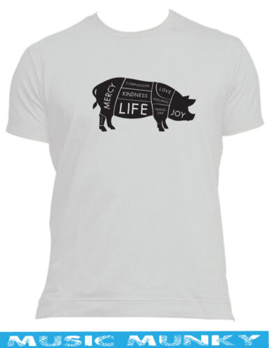 happy VEGAN PIG T-SHIRT ALL SIZES veggie animal rights protest ALF COMPASSION