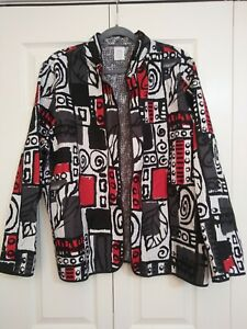 Alfred-Dunner-Quilted-Jacket-Blazer-Size-20-Black-White-and-Red