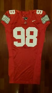 98-Red-Game-Worn-Ohio-State-Buckeyes-Football-Jersey-Size-52-Nike-Team