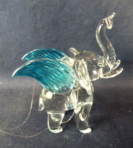 Elephant w/ Teal wings Hand Made Glass Ornament Figurine (F)