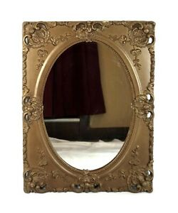 Antique-Oval-Wall-Mirror-Gold-Decorated-Gesso-French-Baroque-Style-Frame