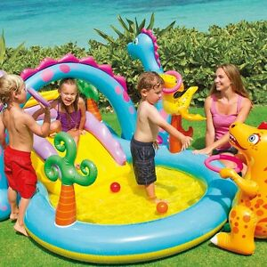 Dino paddling pool kids inflatable slide swimming pools for Children s garden pools