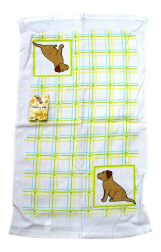 """Cute Check Print Cats or Dogs Terry Tea Towels S 25/"""" x 15/"""" Cotton Dishcloth"""