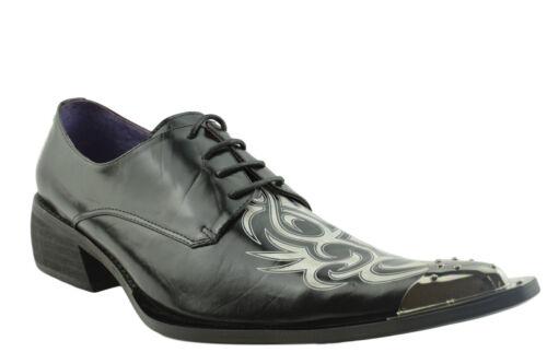 Toe Sayer Gucinari Black Classic Leather White Shoes Men Steel Cap Pointed BO7vBwF