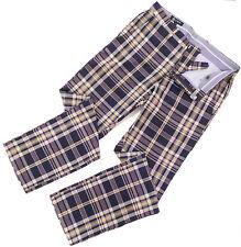 JCrew Men's Slim Madras Plaid Cotton Pants 30W x 32L  Flat Front