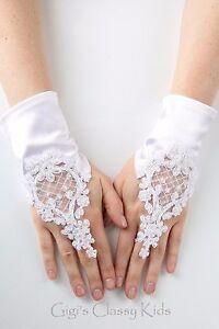 400CEL Dressy Girl/'s White Satin Elbow Gloves Communion or Wedding Sz 7-14 yrs