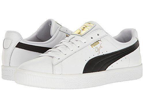 5fdc2d92d5e92e PUMA Mens Clyde Core Foil White   Black Shoes White black 12 for sale  online