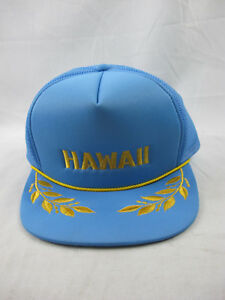 Vintage Hawaii Trucker Blue Mesh Hat Gold Leaf Snapback Cap Hawaiian ... 93eb08eef0d9