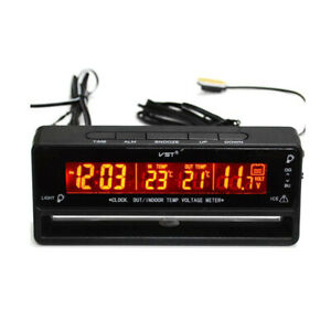 Voiture-Auto-Digital-Horloge-Thermometre-Temperature-Voltmetre-de-Batterie
