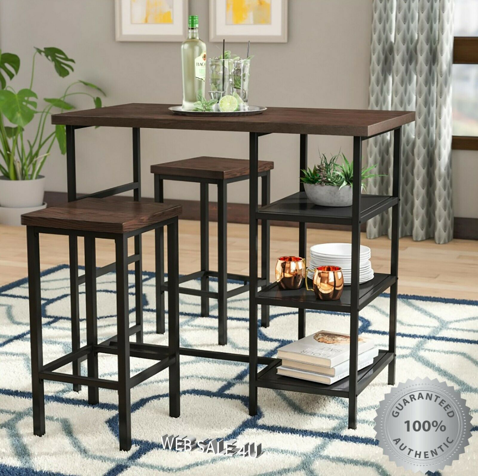 Pub Table Set 3 Piece Bar Stools Wood Metal Kitchen Dining Furniture Industrial For Sale Online