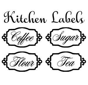kitchen labels vinyl decal sticker for canister jars storage