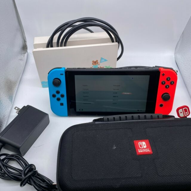 Nintendo Switch Console Animal Crossing Edition  See pictures for included stuff