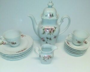 Winterling-Bavaria-Fine-Porcelain-Pink-Floral-Pattern-Set-of-15-w-Teapot