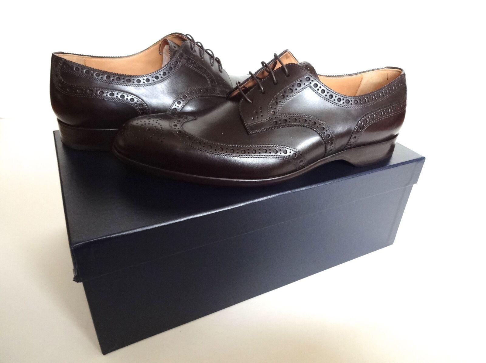 Scarpe casual da uomo  New Ralph Lauren Collection Dark Brown Leather Chapman Wingtip Oxford Shoes 8.5