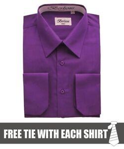 Berlioni-Italy-Men-039-s-Convertible-Cuff-Solid-Dress-Shirt-Purple-FREE-TIE