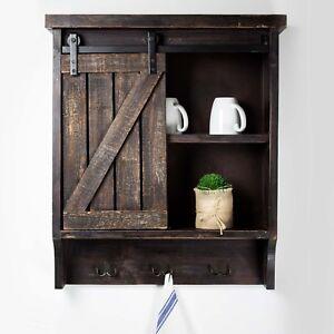 Rustic Bathroom Wall Medicine Cabinet Brown Farmhouse Barn Door Storage Cupboard Ebay