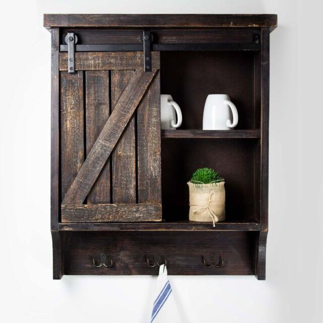 Rustic Bathroom Wall Medicine Cabinet Brown Farmhouse Barn Door Storage Cupboard For Sale Online Ebay
