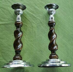 Pair-Antique-English-Barley-Twist-Candlesticks-wood-brass